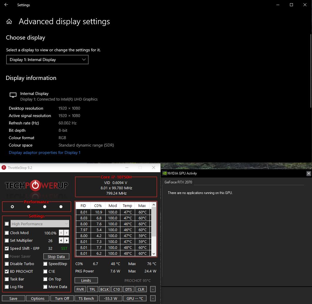 Снимок экрана с настройками Throttlestop, GPU и дисплея
