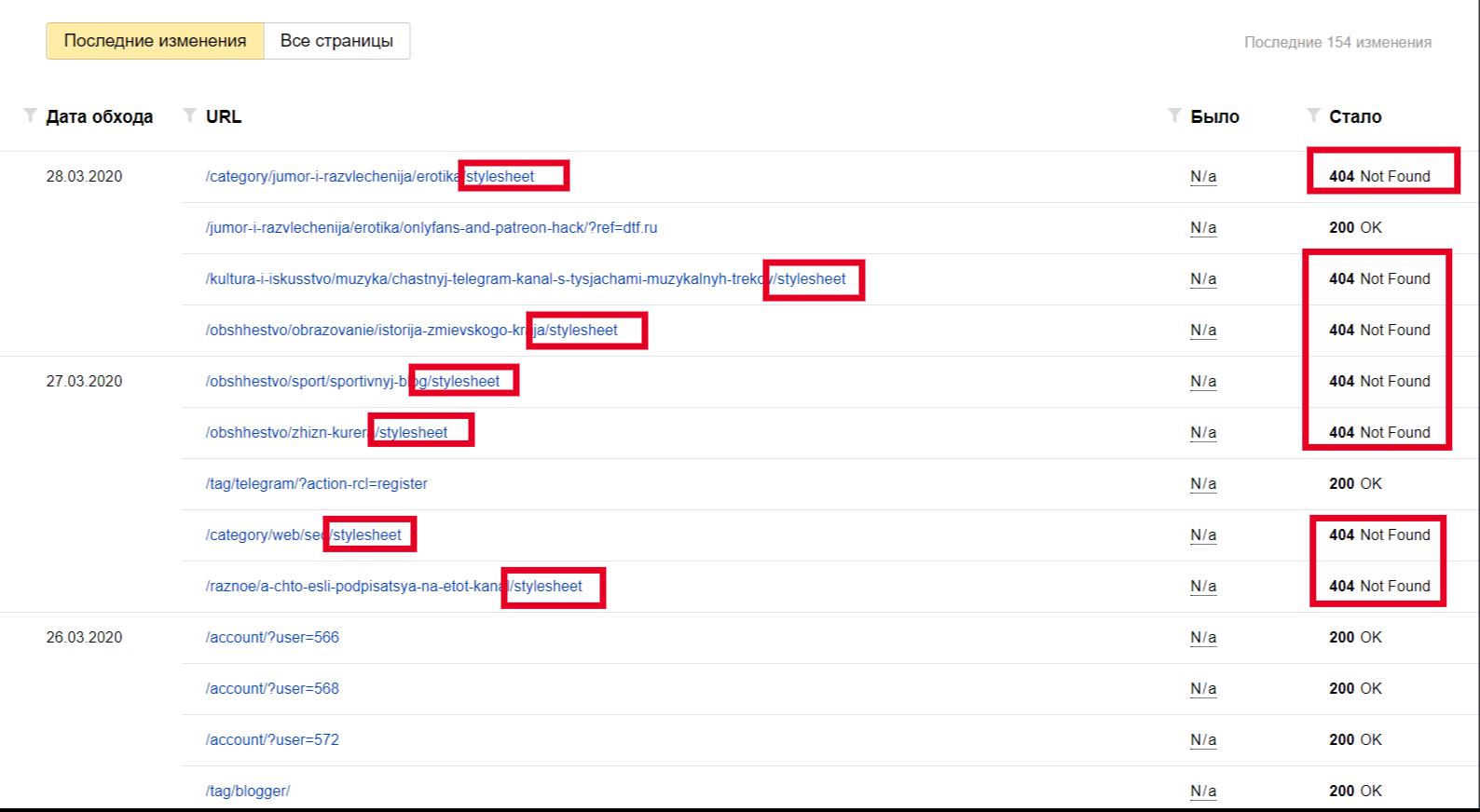В вебмастере индексируются ссылки на страницы 404